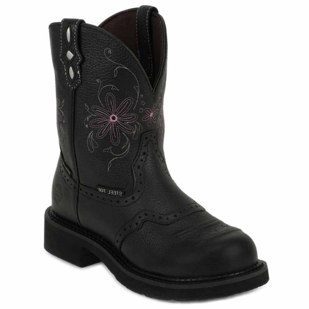 Justin Original Workboots Women's WKL9982 8-Inch EH ST WP Black Pebble Grain W/Saddle 11 B