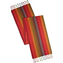 Cotton Craft - Salsa Stripe Hand Knotted Fringe Table Runner - 14x72 - Red Multi - 100% Cotton - Hand Woven by Skilled artisans - Unique Hand Knotted Decorative Fringe