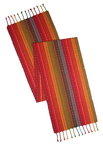 Woven Table Runner (Cotton Craft - Salsa Stripe Hand Knotted Fringe Table Runner - 14x90 - Red Multi - 100% Cotton - Hand woven by skilled artisans - Unique hand knotted decorative fringe)