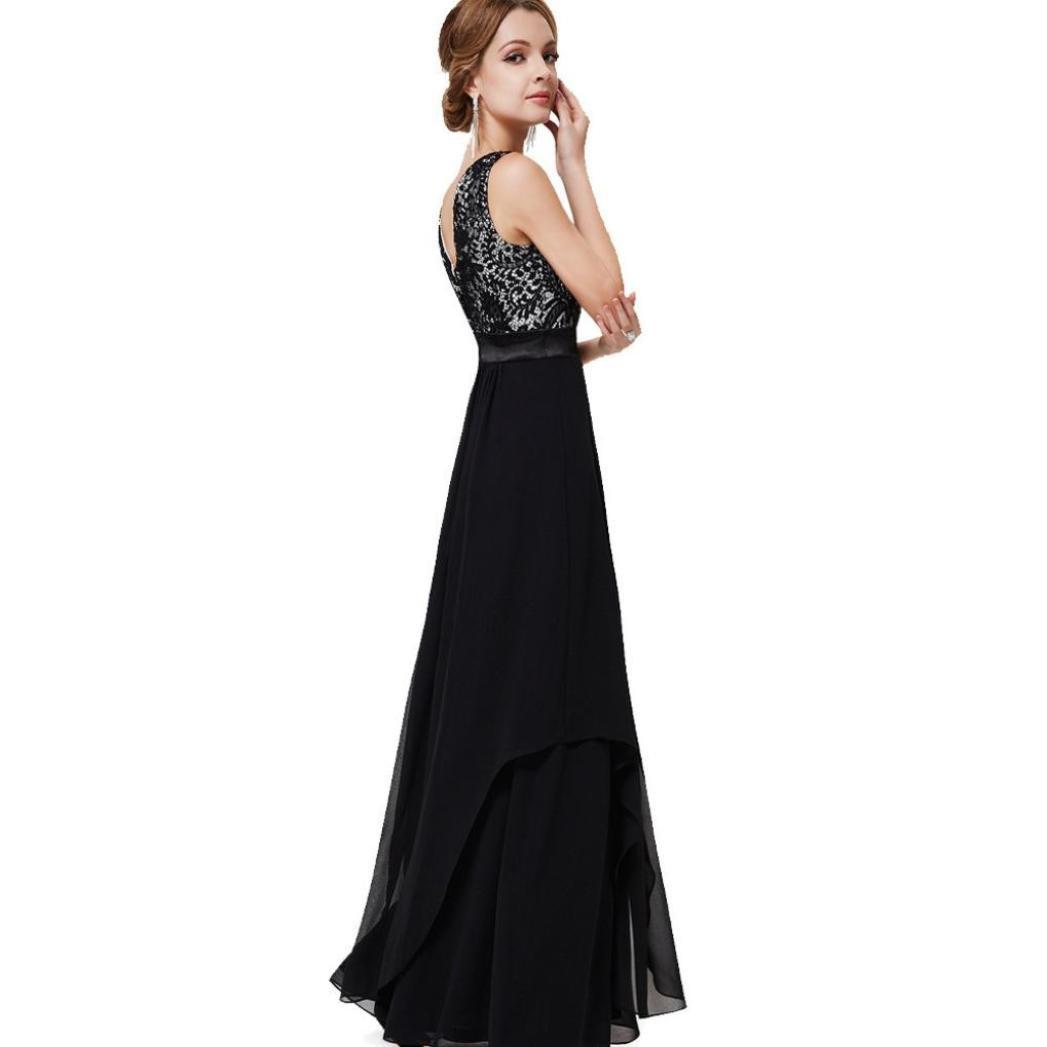 Bovake Womens Sexy Sleeveless Chiffon Lace Soild Formal Party Evening Daily Long Dress Ball Gown Prom Bridesmaid Dress UK8~26: Amazon.co.uk: Clothing