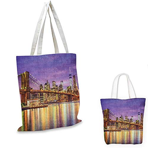 New York canvas messenger bag NYC Exquisite Skyline Manhattan Broadway Old Neighborhood Tourist Country Print canvas beach bag Purple Gold. - Broadway Messenger Canvas