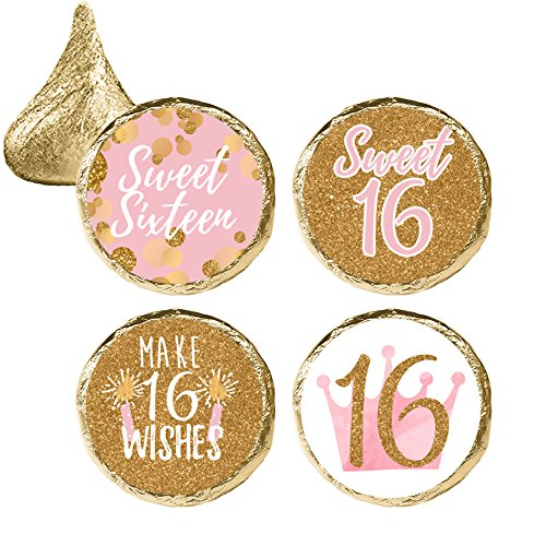 Pink and Gold 16th Birthday - Sweet Sixteen Party Favor Stickers, 324 Count ()