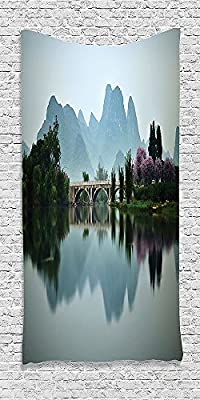 Cotton Microfiber Bathroom Towels Ultra Soft Hotel SPA Beach Pool Bath Towel Farm House Japanese National Park Bridge Reflections of the Mount on the Lake Scenery Multi