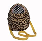 SALICO Hedgehog Hamster Mouse Outgoing Carrier Bags, Breathable Portable Rat Travel Handbags Backpack with Shoulder Strap (M, Yellow Leopard)
