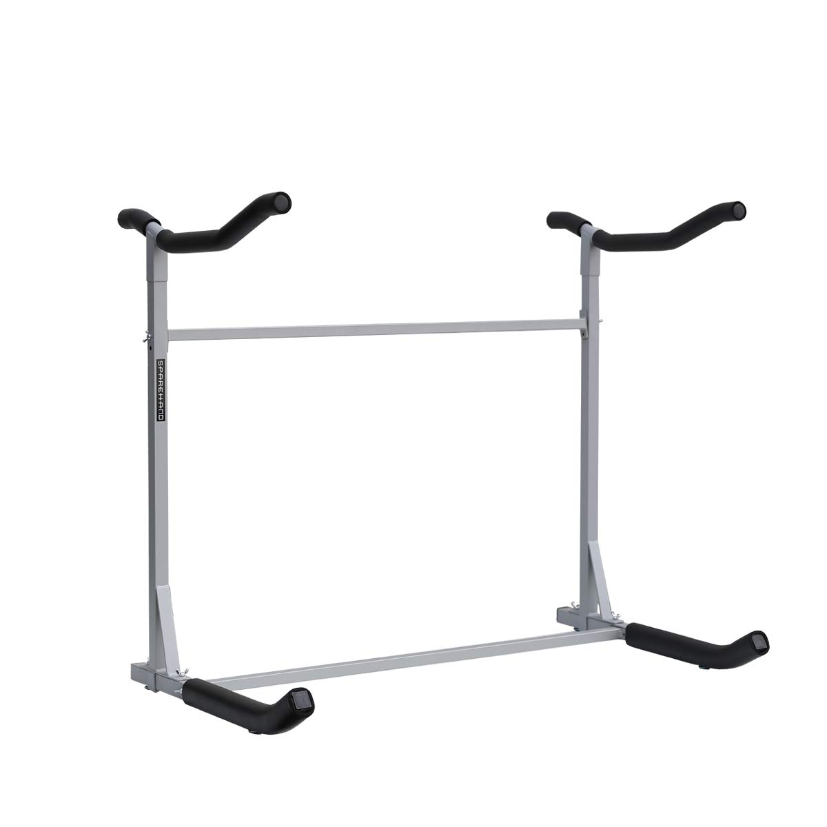 SPAREHAND Freestanding Dual Storage Rack for 2 Kayaks or SUPs, Tools-Free Assembly, Pebble Silver Finish by SPAREHAND