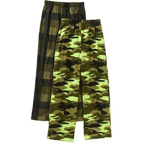 Boys Fleece Pajama Pants (Faded Glory Boys Micro Fleece 2 Pack Pajama Pants (X-Small 4/5, Green))