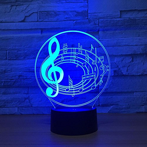 3D Optical Illusion LED Nigth Light Music Note Table Desk Lamp 7 Color Changeable LED Night Light Home Party Decoration for Birthday Gift Christmas Xmas Festival Toy Gift for Music Lovers Fans ... ()