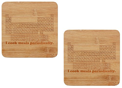STEM Gifts I Cook Meals Periodically Math Science Funny Periodic Table Chemist Gifts Trivet Set 2-Pack Wooden Hot - Chemist Boots Products