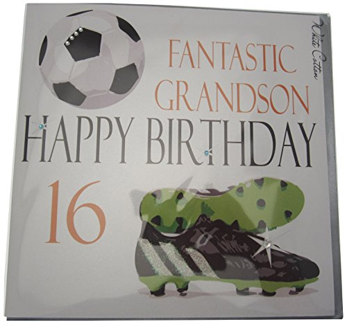 Handmade Cotton Card - White Cotton Cards Large Fantastic Grandson Happy Birthday 16