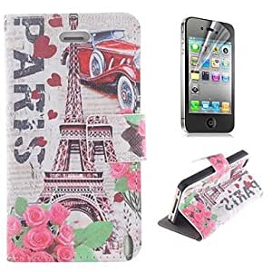 GJY Eiffel Tower and The Rose Pattern PU Leather Full Body Cover with Stand and Protective Film for iPhone 4/4S