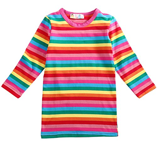 Girls Rainbow Striped Cotton Dress Cute Pullover Blouse Top(100cm) -