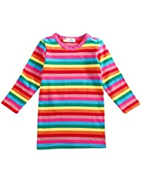 Girls Rainbow Striped Cotton Dress Cute Pullover Blouse Top