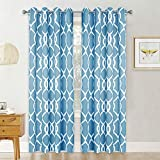 RYB HOME Thermal Insulated Solid Pattern Blackout Drapes with Ring Top, Sunlight Block Solar Curtains for Courtyard/Back Yard, Cadetblue, (52 inch Width x 95 inch Length, 2 Pcs)