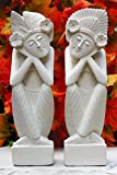 G6 Collection Set of 2 – a Man and a Woman Dreaming Limestone Statue Sculpture Hand Carved Home Decor (8″ Tall) For Sale