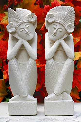 G6 Collection Set of 2 - a Man and a Woman Dreaming Limestone Statue Sculpture Hand Carved Home Decor (8