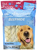 Pet Factory 78105 100% American Beefhide 7-8 inch Braided Rawhide Sticks for Dogs. Made in USA 6 Pack
