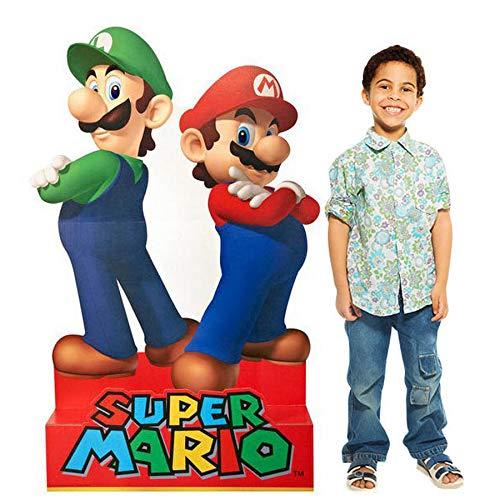 (BirthdayExpress Super Mario Party Supplies - Mario & Luigi Life Size Cardboard Standup Combo)