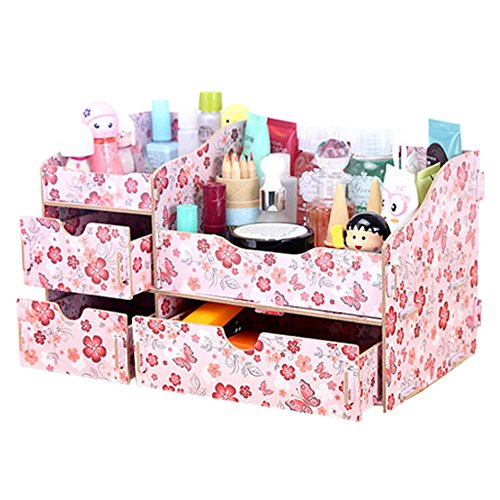 dolly2u Fashion Wooden Make-up Storage Box Cosmetic Display Organizer Iris Japonica B by dolly2u