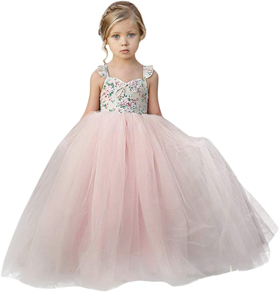 Kids Girls Princess Wedding Bridesmaid Sleeveless Party Swing Dress 3-8 Years