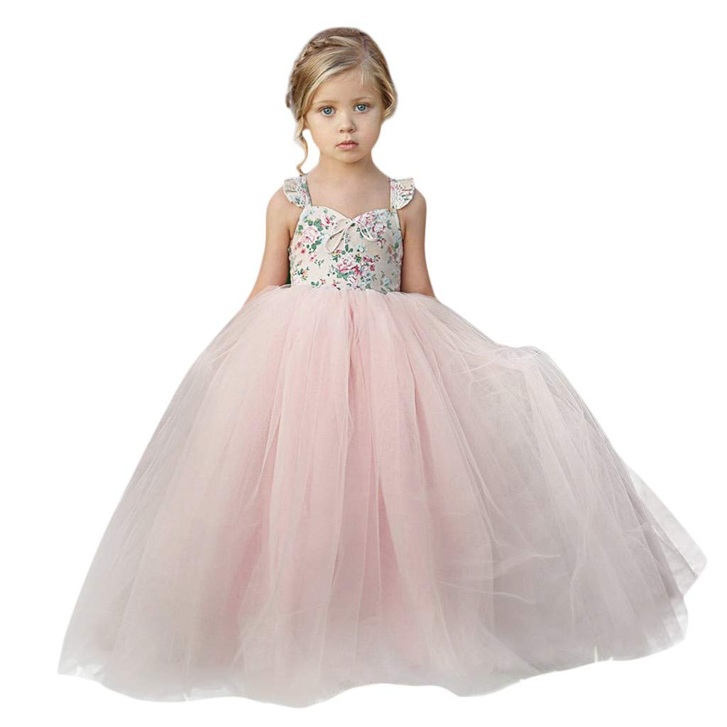 aa3d6b2685 ❤️ Mealeaf ❤️ Baby Girls Ball Gown Gauze Sleeveless Bow Princess Flower  Girl Pageant Wedding Party Long Dresses 0-7Years