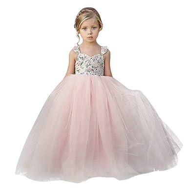 481f2ef3d34a9 Susenstone Robe Enfant Mignon Fille Ceremonie Anniversaire De Princesse  d honneur Mariage avec Bowknot Longue