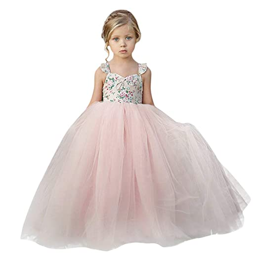 c154a5a6163d9 ❤️ Mealeaf ❤️ Baby Girls Ball Gown Gauze Sleeveless Bow Princess Flower  Girl Pageant Wedding Party Long Dresses 0-7Years