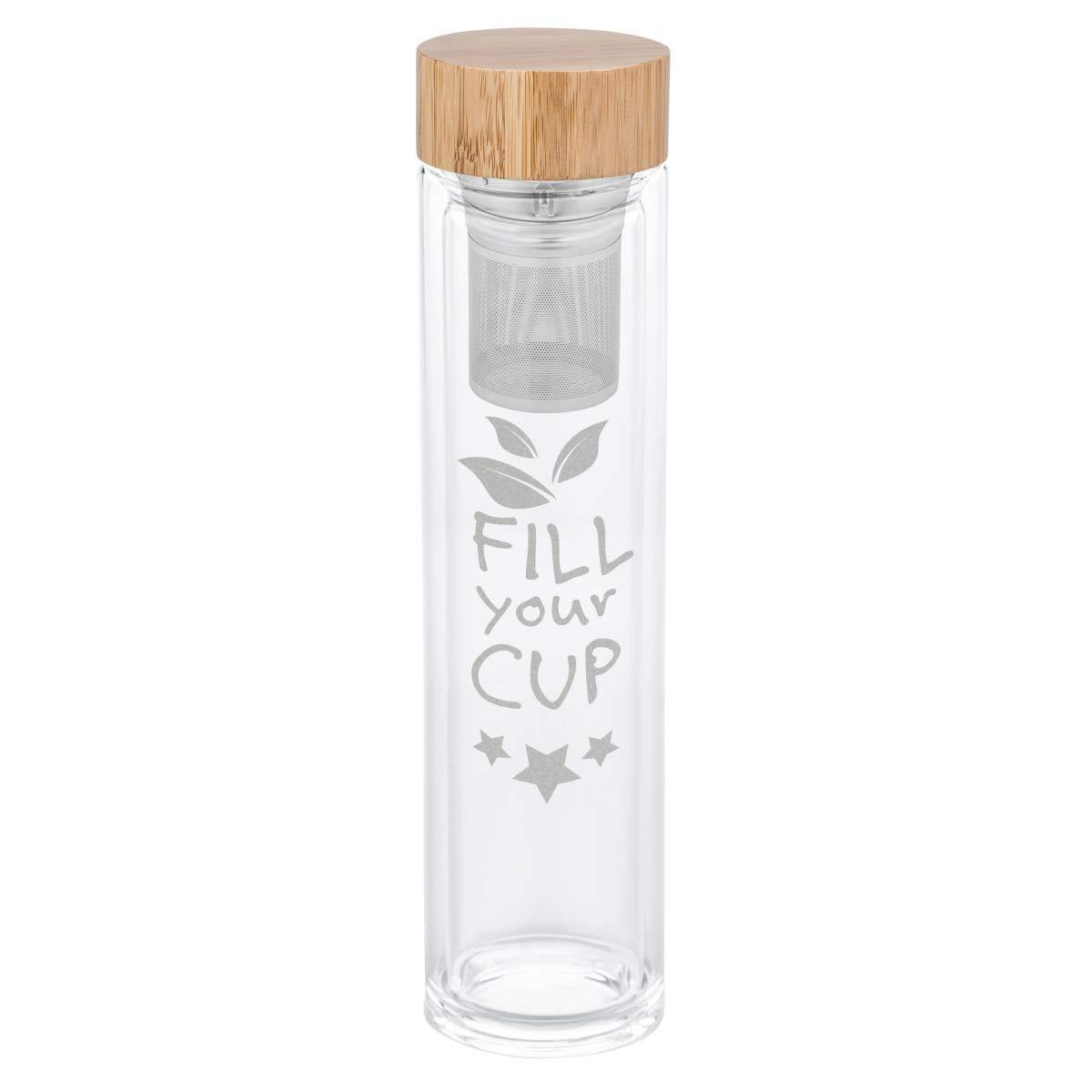 Teeflasche mit Edelstahl-Sieb - wähle ein Motiv - Doppelwandig Fassungsvermögen: 500ml - Schraubverschluss & Bambusdeckel - Profi Teebereiter Farbe #Tea GRAVURZEILE