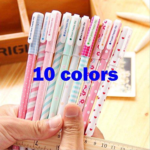 Gel Pens Set for coloring 10-pack Gel Ink RollerBall Pens Korean Style Watercolor 0.38 mm Pens (10 colors)