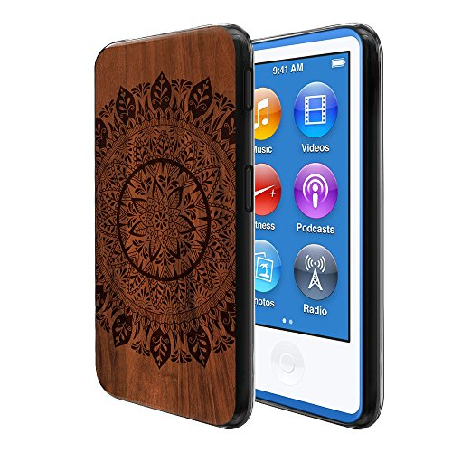 (FINCIBO Case Compatible with Apple iPod Nano 7 (7th Generation), Flexible TPU Soft Gel Skin Protector Cover Case for iPod Nano 7 - Full Leaf Mandala On Wood)