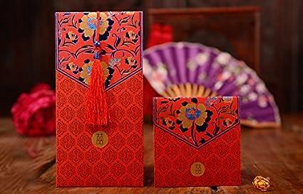 Ordery Rot Briefumschläge Traditionelle Chinesische Hochzeit Quasten Und Pfingstrose Design Neue Jahr Geschenke Rot Pakete 5 Stück 354354