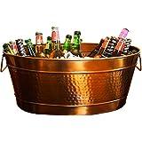 BREKX Hammered Stainless Steel Beverage Tub & Party Drink Chiller - Elegant Rose Copper Finish - Large