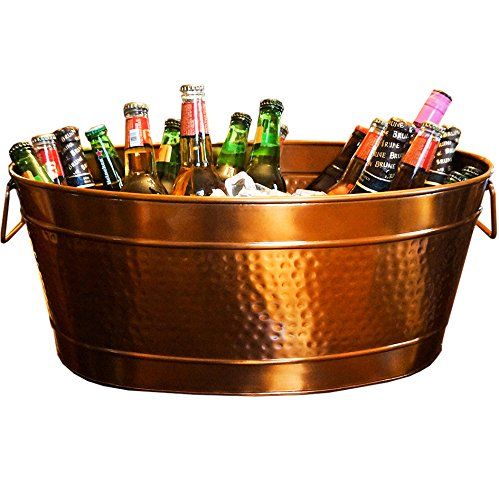 The Copper Bucket (BREKX Hammered Stainless Steel Beverage Tub & Party Drink Chiller - Elegant Rose Copper Finish - Large)