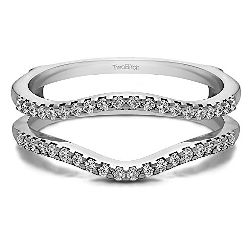 Prong Shared (TwoBirch Sterling Silver Double Shared Prong Contour Ring Guard with Cubic Zirconia (0.3 ct. tw.))