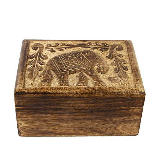 Icrafts India Royal Elephant Design Carved Wooden Jewelry Keepsake Chest Multi-Utility Storage Box Home Kitchen Decorative - 8 x 6.5 inch