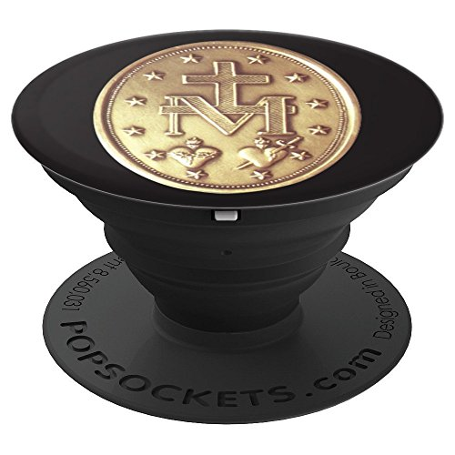 Miraculous Medal Catholic Gold Medallion - PopSockets Grip and Stand for Phones and Tablets