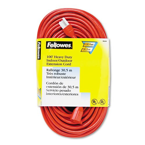 Fellowes : Indoor/Outdoor Heavy-Duty 3-Prong Plug Extension Cord, 1 Outlet, 100-ft., Orange -:- Sold as 2 Packs of - 1 - / - Total of 2 (Fellowes Orange Indoor Extension Cord)