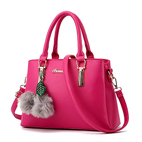 Women Casual Tote Bag Shoulder Bag Fluffy Fur Ball Pendant Girls Crossbody Bag Rose Red