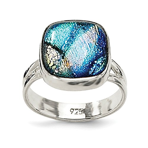 Dichroic Glass Ring - 925 Sterling Silver Blue Dichroic Glass Band Ring Size 6.00 Fine Jewelry Gifts For Women For Her