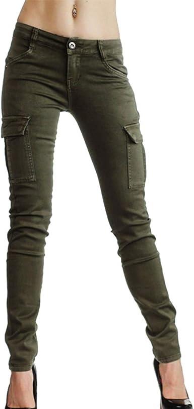 Hibote Pantalones Cargo Para Mujer Moda Cintura Media Casual Pantalones Largos Con Bolsillos Multiples Estilo Militar Pantalones Combate Seis Colores 28 A 36 Amazon Es Ropa Y Accesorios