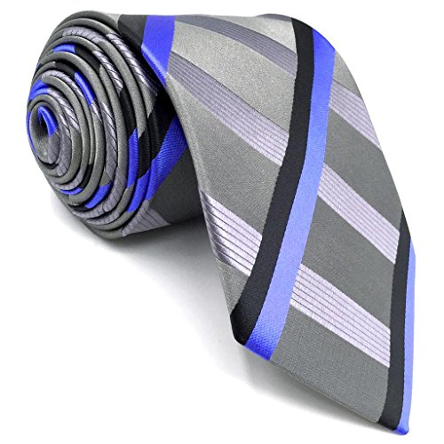 Shlax&Wing Mens Necktie Stripes Light Gery Blue Ties Silk