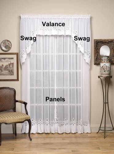 Today s Curtain Plymouth Classic Battenburg Applique Sheer Window Panel, 84-Inch, White