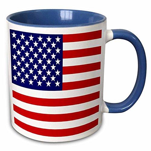 """46b00f15d349 3dRose mug 112805 6 """"American Flag Patriotic USA Stars   Stripes Red White    Blue 4Th July"""" Two Tone Blue Mug"""