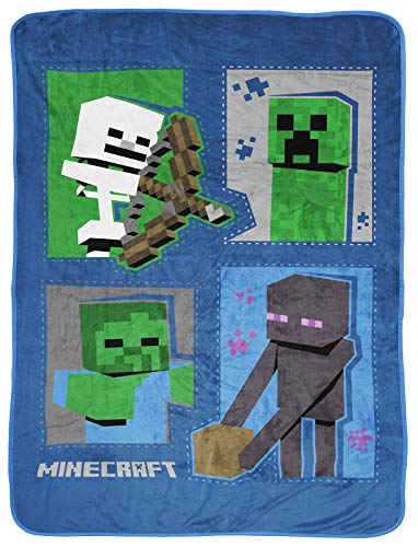 Jay Franco Minecraft Icons Throw Blanket - Measures