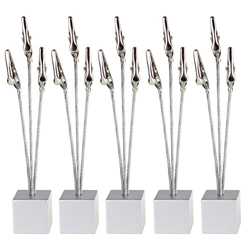 Branch Stand - Mike Home Cube Base 3-branch Tree Style Memo/Card/Paper/Photo Holder Table Number Holder for Wedding Party Pack of 5 (Silver)
