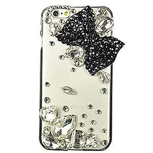 iPod Touch (5th Generation) funda, sense-te lujo Crystal 3d hecho a mano con diamantes de imitación cubierta transparente con Retro lazo anti polvo enchufe–con lazo grande para/negro