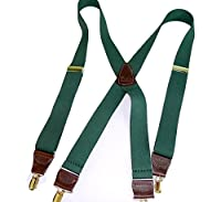Hold-Ups Hunter Green Men's Clip-On Suspenders with X-Back and Gold Clips