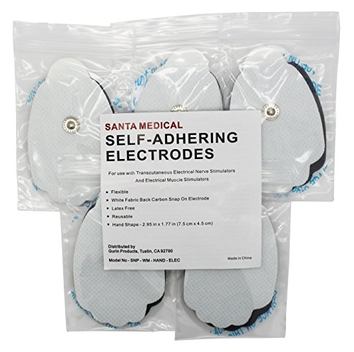 Santamedical-10-Snap-On-Re-Usable-White-Carbon-Electrode-Pads-with-Premium-Gel-Hand-Shape-Satisfaction-Guaranteed