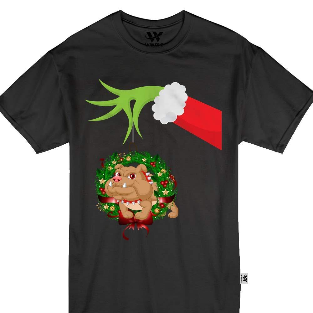 Bulldog Christmas Green Hand Santa Cute Funny Wreath Gift Tshirt