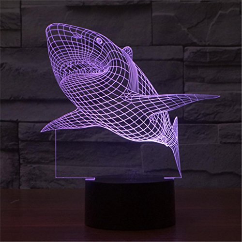 Shark Creative Creature 3D Acrylic Visual Home Touch Table Lamp Colorful Art Decor USB LED Children's Desk Night Light 3D-TD08 by AUCD (Image #5)