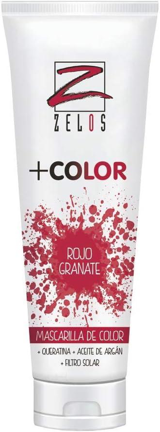 Mascarilla de Color para el Pelo - Rojo Granate - 200 ml - Mascarilla Con Color Acondicionadora - Con Queratina y Aceite de Argán - Potencia el Color Desgastado - Uso Profesional - Zelos +Color